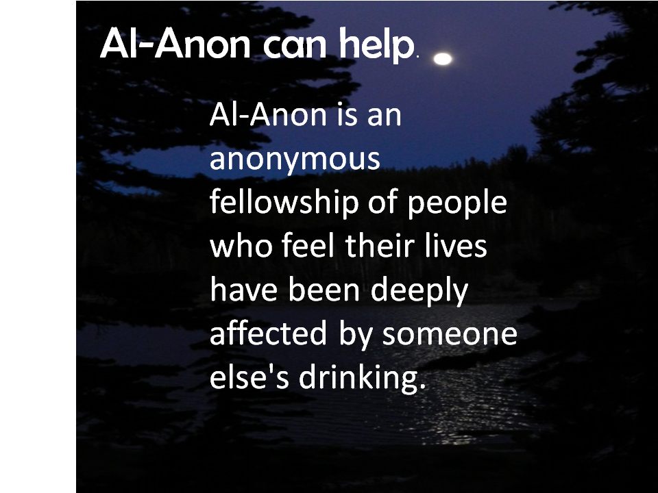 View of the moon at night. Al-Anon can help. Al-Anon is an anonymous fellowship of people who feel their lives have been deeply affected by someone else's drinking.