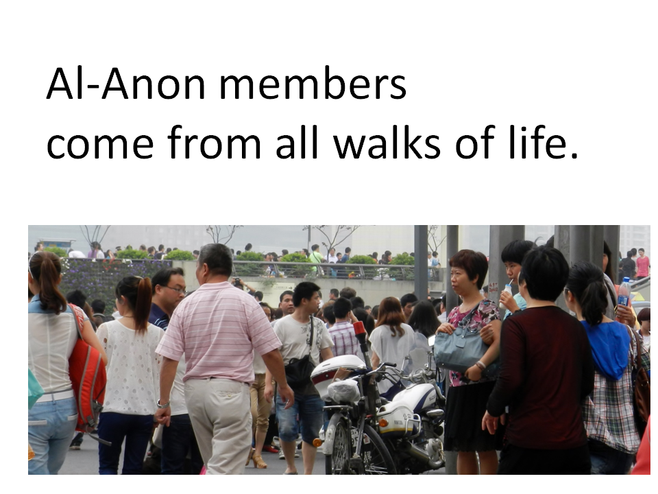 View of people on the waterfront. Al-Anon members come from all walks of life.
